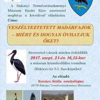 Óvjuk a veszélyeztetett madarakat -  2017. szeptember 21., csütörtök