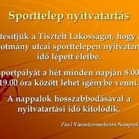 Tájékoztatás a sporttelep nyitvatartásáról