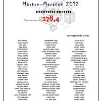 Márton-Maraton 2012 - Közösségi oklevél