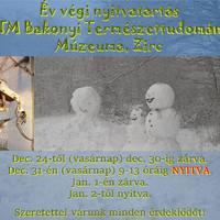 Év végi nyitva tartás - MTM Bakonyi Természettudományi Múzeuma