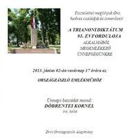 MEGEMLÉKEZŐ ÜNNEPSÉG A TRIANONI DIKTÁTUM 93. ÉVFORDULÓJÁNAK ALKALMÁBÓL