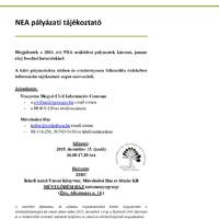 NEA pályázati tájékoztató a Művelődési Házban