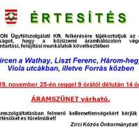 Áramszünet lesz 25-én Zircen - öt utcában