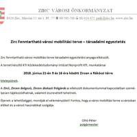 Zirc Fenntartható városi mobilitási terve – társadalmi egyeztetés
