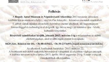 A Reguly Antal Múzeum és Népművészeti Alkotóház felhívása