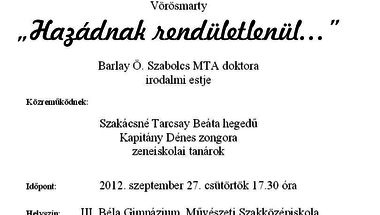 Zenés irodalmi est  2012. szeptember 27. csütörtök 17.30
