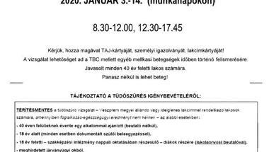 Tüdőszűrő - Zirc - 2020. január 3-14 (munkanapokon)