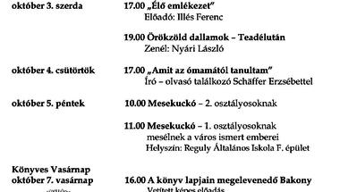 Országos Könyvtári Napok  zirci  rendezvényei   2012. október 1-7.