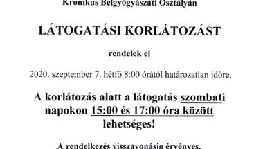 Látogatási korlátozás a zirci kórházban - 2020. szeptember 7-től