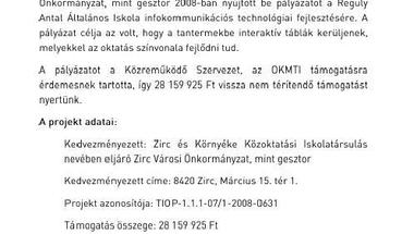 Interaktív táblák Zircen - projekt záró sajtóközleményét