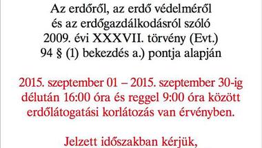 Erdőlátogatási korlátozás szeptemberben