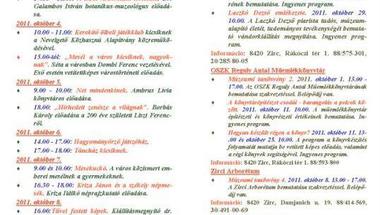 Zirc, 2011. október havi programok