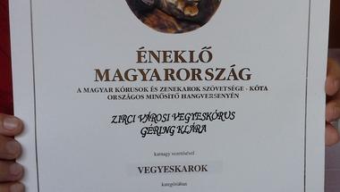 FESZTIVÁLKÓRUS minősítést kapott a Zirci Városi Vegyeskórus