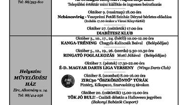 A Békefi Antal Városi Könyvtár, Művelődési Ház és Stúdió KB  októberi programajánlója