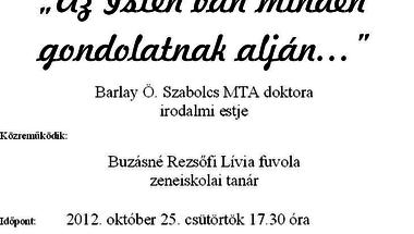 Zenés irodalmi esték   2012. október 25. csütörtök  17.30 óra