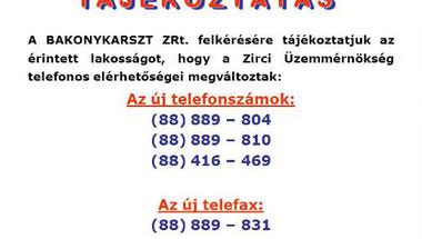 Tájékoztatás - Bakonykarszt ZRt