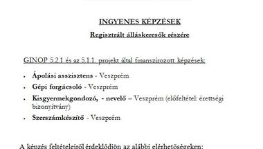 Ingyenes képzések regisztrált álláskeresők részére