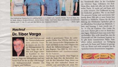 Pohlheim testvérvárosunk lapjában is megemlékeztek dr. Varga Tibor korábbi zirci polgármesterről