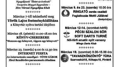 A Békefi Antal Városi Könyvtár, Művelődési Ház és Stúdió KB  márciusi programajánlata