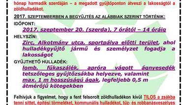GYŰJTŐPONTOS ZÖLDHULLADÉK-GYŰJTÉS SZEPTEMBERBEN