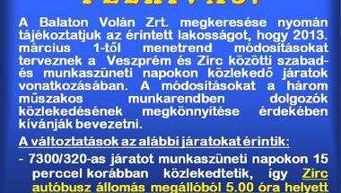 Felhívás Balaton Volán Menetrend módosítás