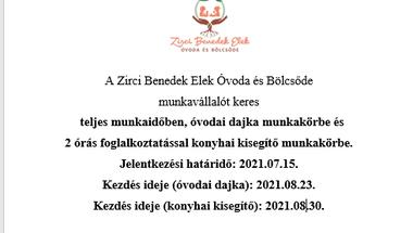 Dajkát és konyhai kisegítőt keresnek az óvodába - 2021. 07.15.