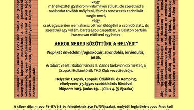 Nyári program - Ismét önvédelmi tábor, ezúttal Csopakon