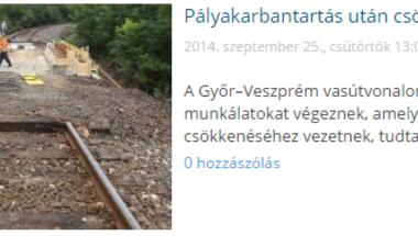Pályakarbantartás a Győr-Veszprém vonalon