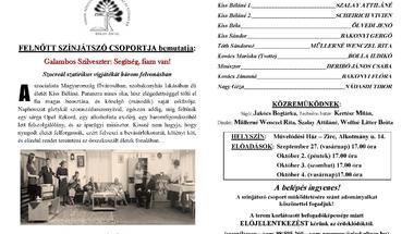 A Felnőtt Színjátszó Csoport bemutatkozó előadása a Művelődési Házban