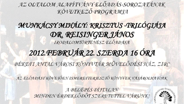 Dr Reisinger János előadása 2012 február 22. szerda 16 óra