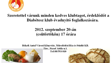 Diabétesz klub  2012. szeptember 20. csütörtök 17 óra