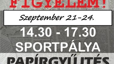 Papírgyűjtés - Zirc, 2020. szeptember 21-24.