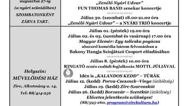 A Békefi Antal Városi Könyvtár, Művelődési Ház és Stúdió KB  júliusi programajánlója