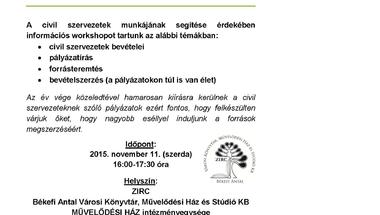 Civil Workshop Zircen, a Művelődési Házban