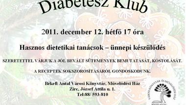 Diabétesz klub 2011. december 12. hétfő 17 óra