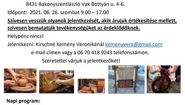 Kézművesek vására, mesterségek udvara - Bakonyszentlászló, 2021.06.21.