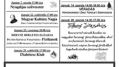 A Békefi Antal Városi Könyvtár Művelődési Ház és Stúdió KB januári programajánlata