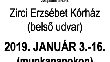 Tüdőszűrő január 16-ig! (hétfőn délután elmarad)