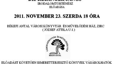 A lelki egészségről Dr.Reisinger János irodalomtörténész előadása 2011. november 23. szerda 18 óra