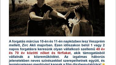 Akliban forgatják a Magdolna című film háborús jeleneteit - szereplőket keresnek