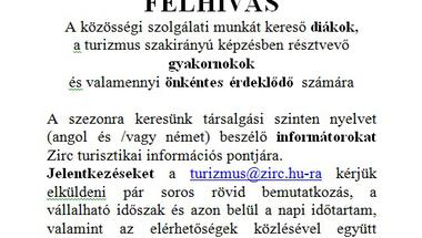 Informátorokat keresünk Zirc turisztikai információs pontjára