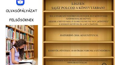 """""""Legyen saját polcod a Könyvtárban!"""" pályázat 2016"""