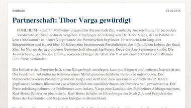 Dr. Varga Tibor közösségi elismerésének híre testvérvárosunk sajtójában