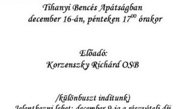 """""""Tetőtéri esték"""" A Tihanyi Bencés Apátságban 2011.december 16-án, pénteken 17 órakor"""