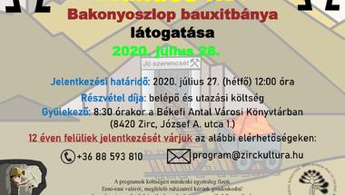 Kirándulás a bakonyoszlopi bauxitbányába - 2020. július 27., hétfő