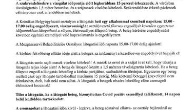 Szabályok a kórházba /szakrendelésekre érkezőknek - 2020. 09.07-től