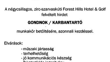 Gondnok/karbantartó állás - Forest Hills Hotel & Golf