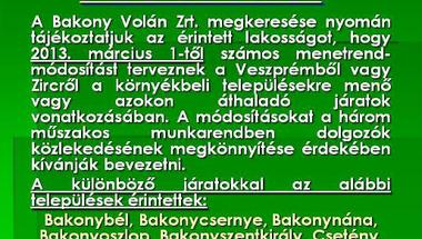 Felhívás Bakony Volán mentrend módosítás
