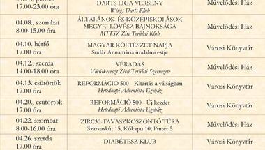 A Békefi Antal Városi Könyvtár, Művelődési Ház és Stúdió KB áprilisi programajánlója