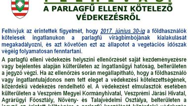 Felhívás a parlagfű elleni kötelező védekezésről